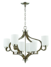 Craftmade 46728-PLNWF - Jasmine 8 Light Chandelier in Polished Nickel and Weathered Fir