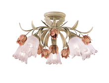 Crystorama 4800-SR - Crystorama Southport 5 Light Sage Rose Floral Semi-Flush
