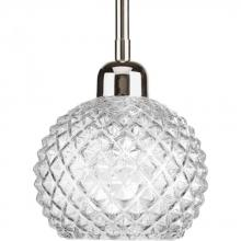 Progress P5041-104 - One Light Polished Nickel Clear Diamond Patterned Glass Down Mini Pendant