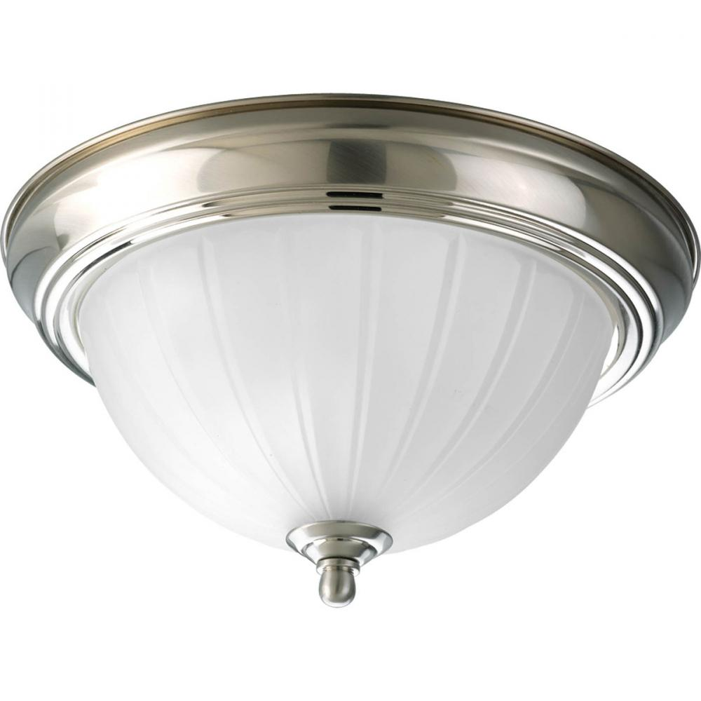 One Light Brushed Nickel Etched Ribbed Glass Bowl Flush Mount