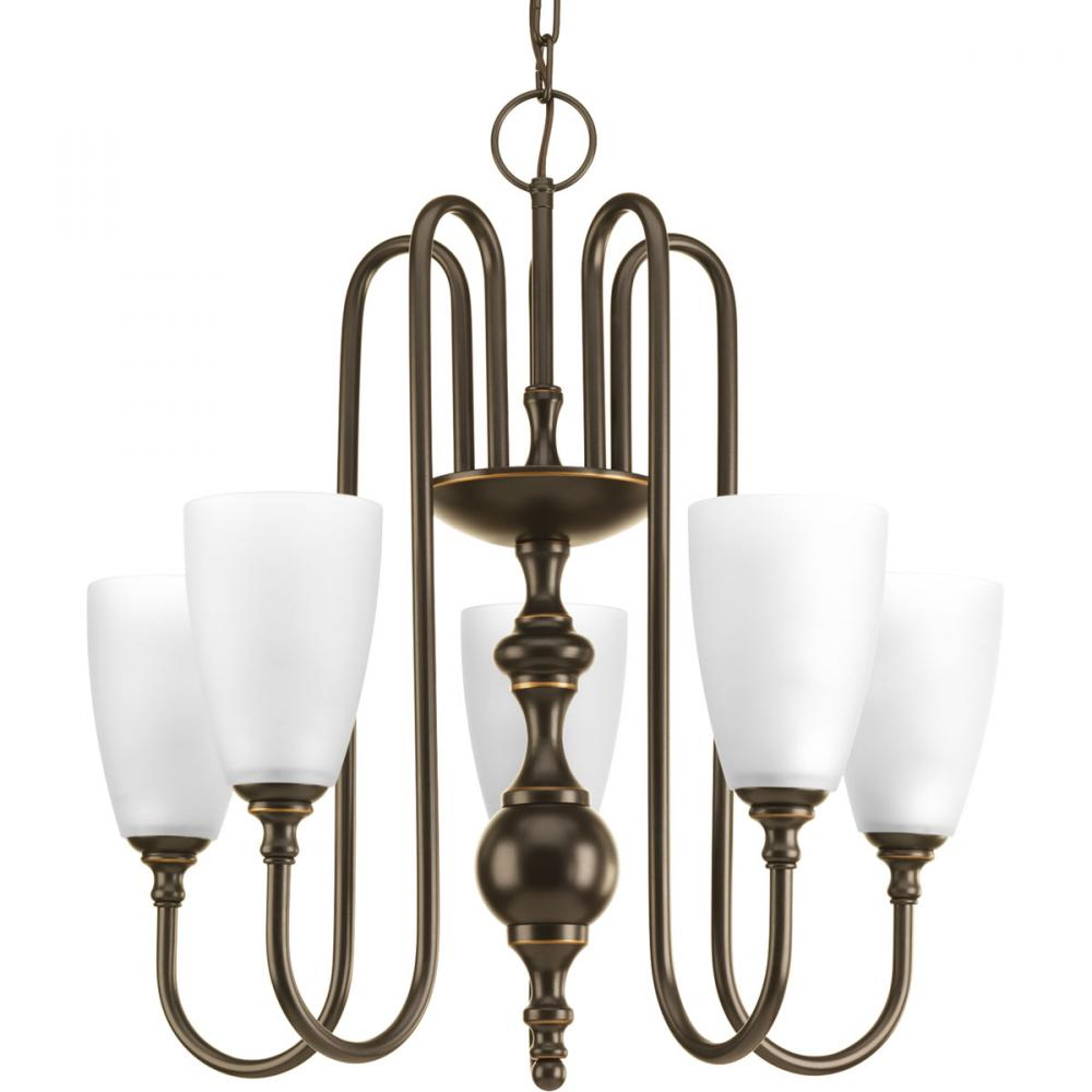 Five-light chandelier finished in antique bronze with etched glass.