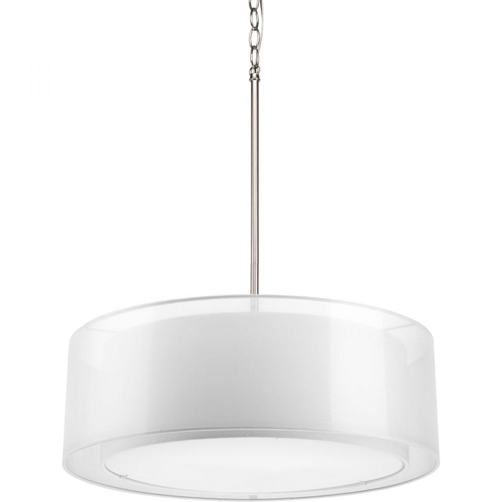 Three Light Brushed Nickel White Glass Drum Shade Pendant  P5037