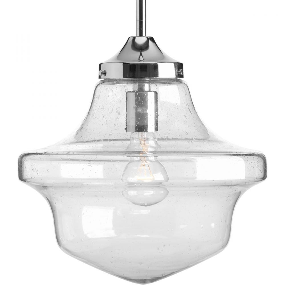 progress p5138 15 one light brushed nickel clear seeded light seeded
