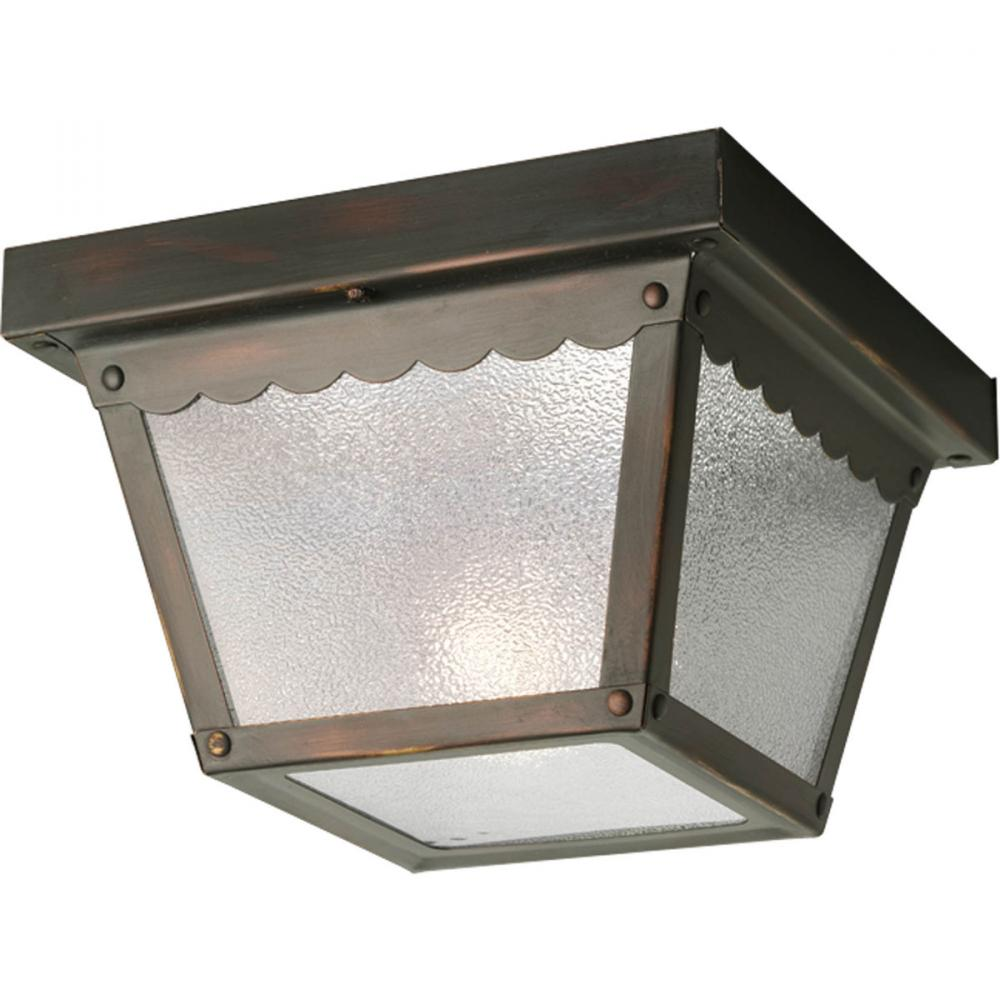43rd Street Lighting, Inc. in Maple Grove, Minnesota, United States, Progress P5727-20, One Light Antique Bronze Textured Glass Outdoor Flush Mount, Ceiling Mount