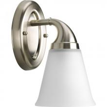 Progress P2758-09 - One Light Brushed Nickel Etched Glass Bathroom Sconce