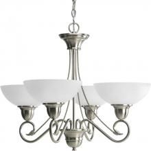 Progress P4592-09 - Four Light Brushed Nickel Etched Watermark Glass Up Chandelier