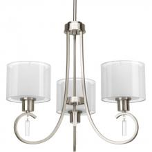 Progress P4695-09 - Three Light Brushed Nickel White Glass Up Chandelier