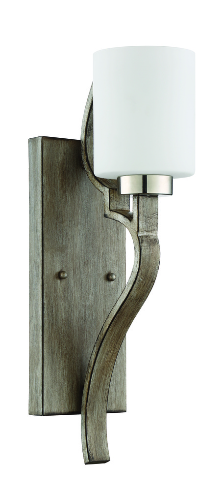 43rd Street Lighting, Inc. in Maple Grove, Minnesota, United States, Craftmade 46761-PLNWF, Jasmine 1 Light Wall Sconce in Polished Nickel and Weathered Fir, Jasmine