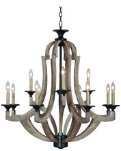 Craftmade 35112-WP - Winton 12 Light Chandelier in Weathered Pine/Bronze