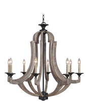 Craftmade 35128-WP - Winton 8 Light Chandelier in Weathered Pine/Bronze