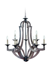 Craftmade 35129-WP - Winton 9 Light Chandelier in Weathered Pine/Bronze