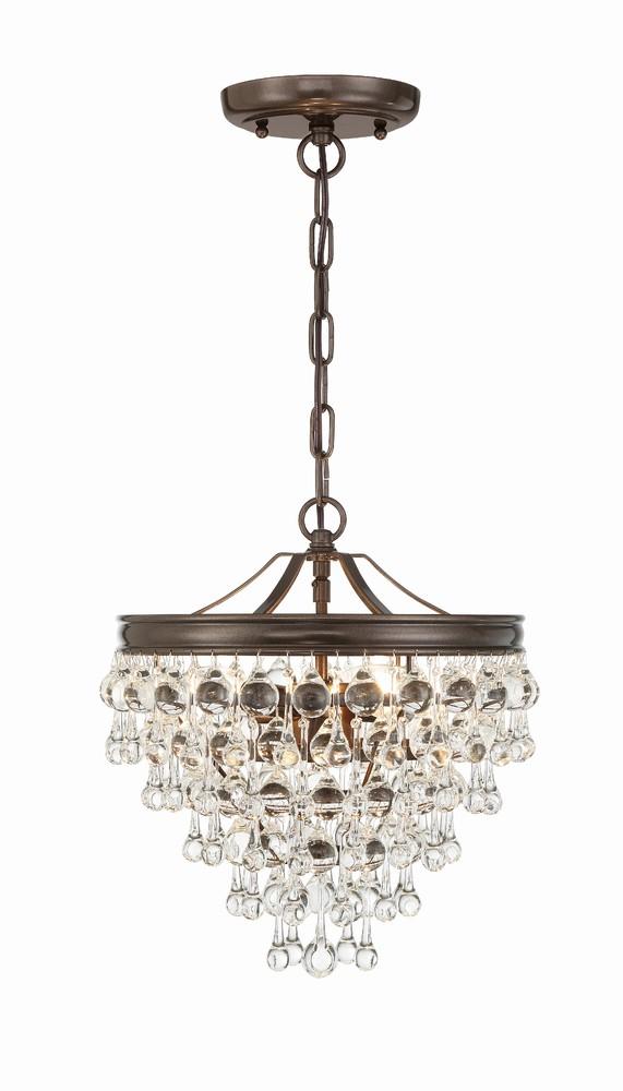 Calypso 3 Light Crystal Teardrop Bronze Mini Chandelier 2dntz 43rd Street Lighting Inc