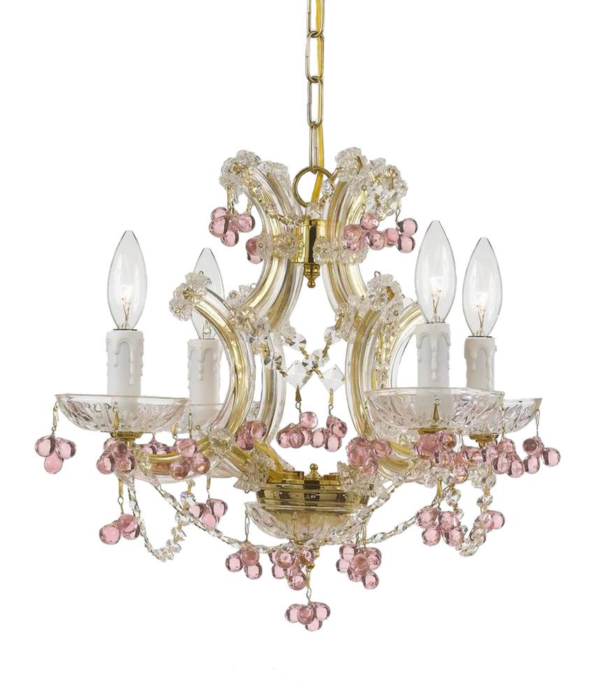 Crystorama maria theresa 4 light rosa crystal gold mini chandelier crystorama maria theresa 4 light rosa crystal gold mini chandelier mozeypictures Image collections