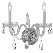 Crystorama 1032-PB-CL-MWP - Crystorama Traditional Crystal 2 Light Clear Crystal Chrome Sconce