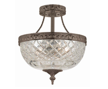 Crystorama 118-10-EB - Crystorama 3 Light Bronze Crystal Ceiling Mount