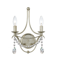 Crystorama 412-SA-CL-MWP - Crystorama Metro 2 Light Antique Sliver Sconce II