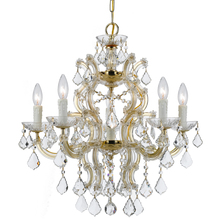 Crystorama 4335-GD-CL-MWP - Crystorama Maria Theresa 6 Light Crystal Gold Chandelier