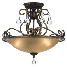 Crystorama 5010-EB-CL-MWP - Ashton 3 Light Hand Cut Crystal Bronze Ceiling Mount
