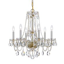 Crystorama 5086-PB-CL-MWP - Crystorama Traditional Crystal 6 Light Crystal Brass Chandelier V