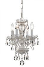 Crystorama 5534-WW-CL-MWP - Crystorama Traditional Crystal 4 Light White Mini Chandelier
