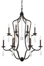 Crystorama 5978-EB - Crystorama Manning 12 Light Bronze Leaf Chandelier