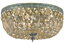 Crystorama 714-AG-GT-MWP - Crystorama 3 Light Golden Teak Hand Cut Aged Brass Ceiling Mount