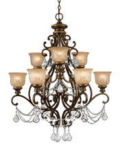 Crystorama 7509-BU-CL-I - Crystorama 9 Light Clear Italian Crystal Bronze Umber Chandelier