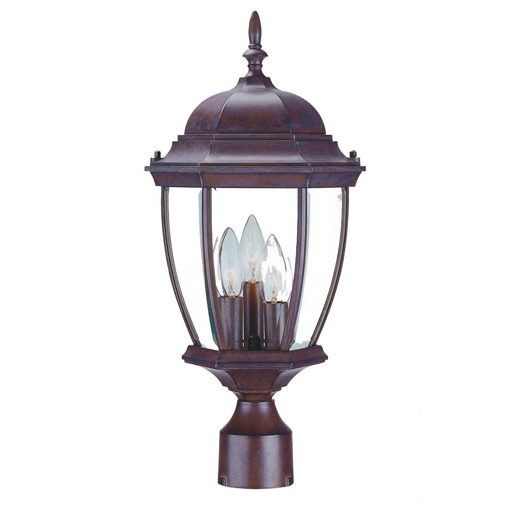 Wexford Collection Post-Mount 3-Light Outdoor Burled Walnut Light Fixture