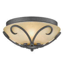 Golden 1821-FM BI - Madera Flush Mount in Black Iron with Toscano Glass