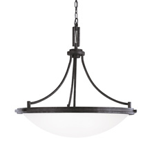 Generation Lighting - Seagull 65662BLE-839 - Fluorescent Winnetka Four Light Pendant in Blacksmith with Satin Etched Glass