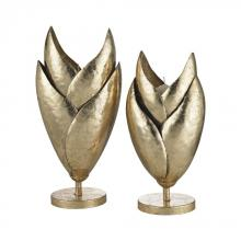 Sterling Industries 3200-068/S2 - Honeychaff Candle Holders In Gold Leaf - Set Of 2