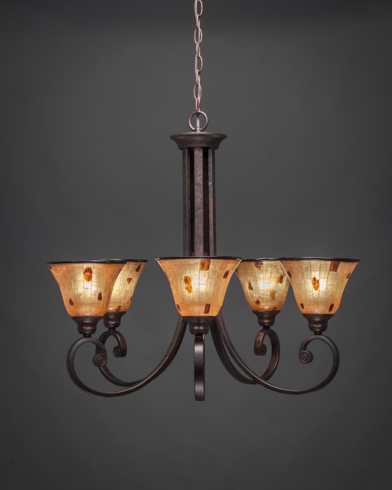 Five Light Bronze Penshell Resin Shade Up Chandelier