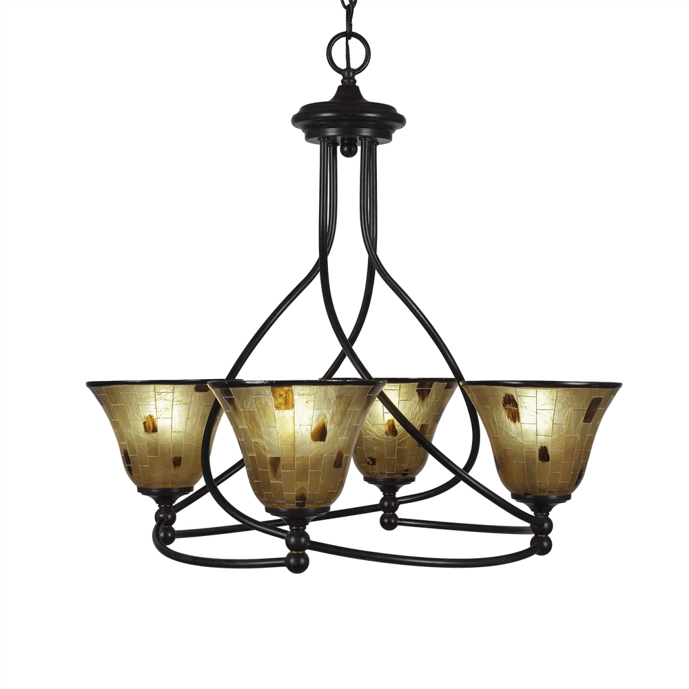 Four Light Dark Granite Penshell Resin Shade Up Chandelier