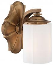 Minka Metropolitan N2941-575 - One Light Etched White Glass Aged Brass Bathroom Sconce