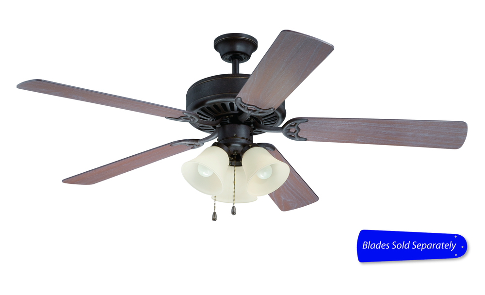"Pro Builder 206 52"" Ceiling Fan with Light in Aged Bronze Textured (Blades Sold Separately)"
