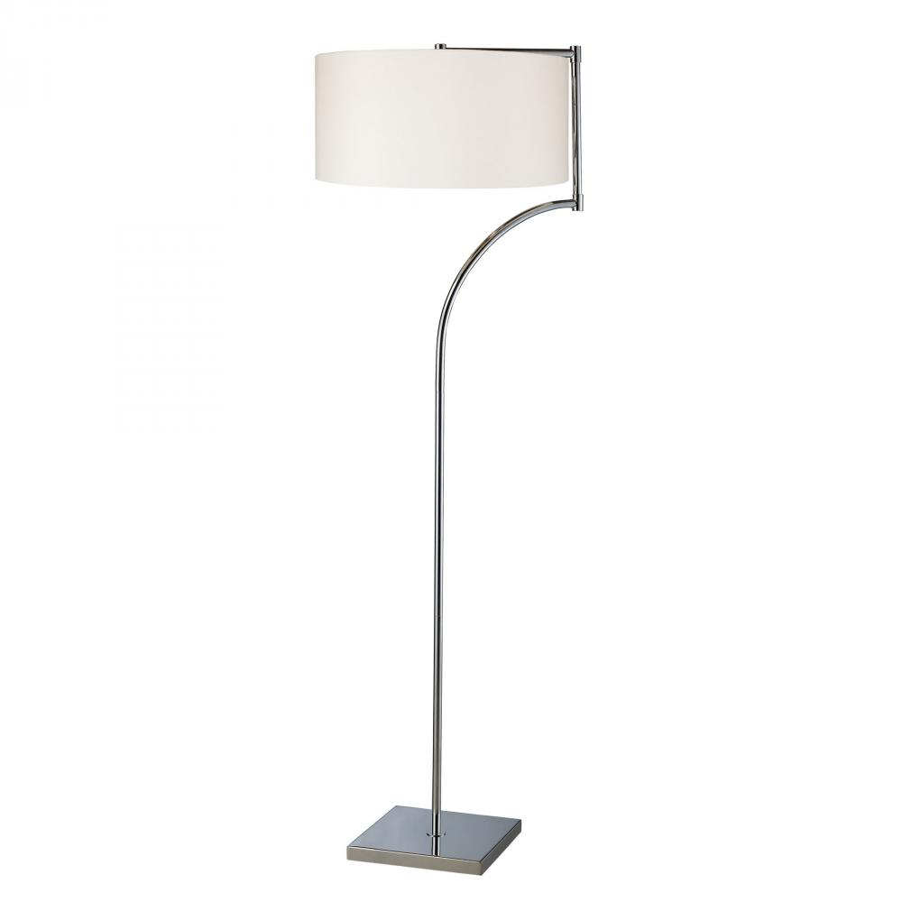 Lancaster Floor Lamp In Chrome With Milano Pure White Shade