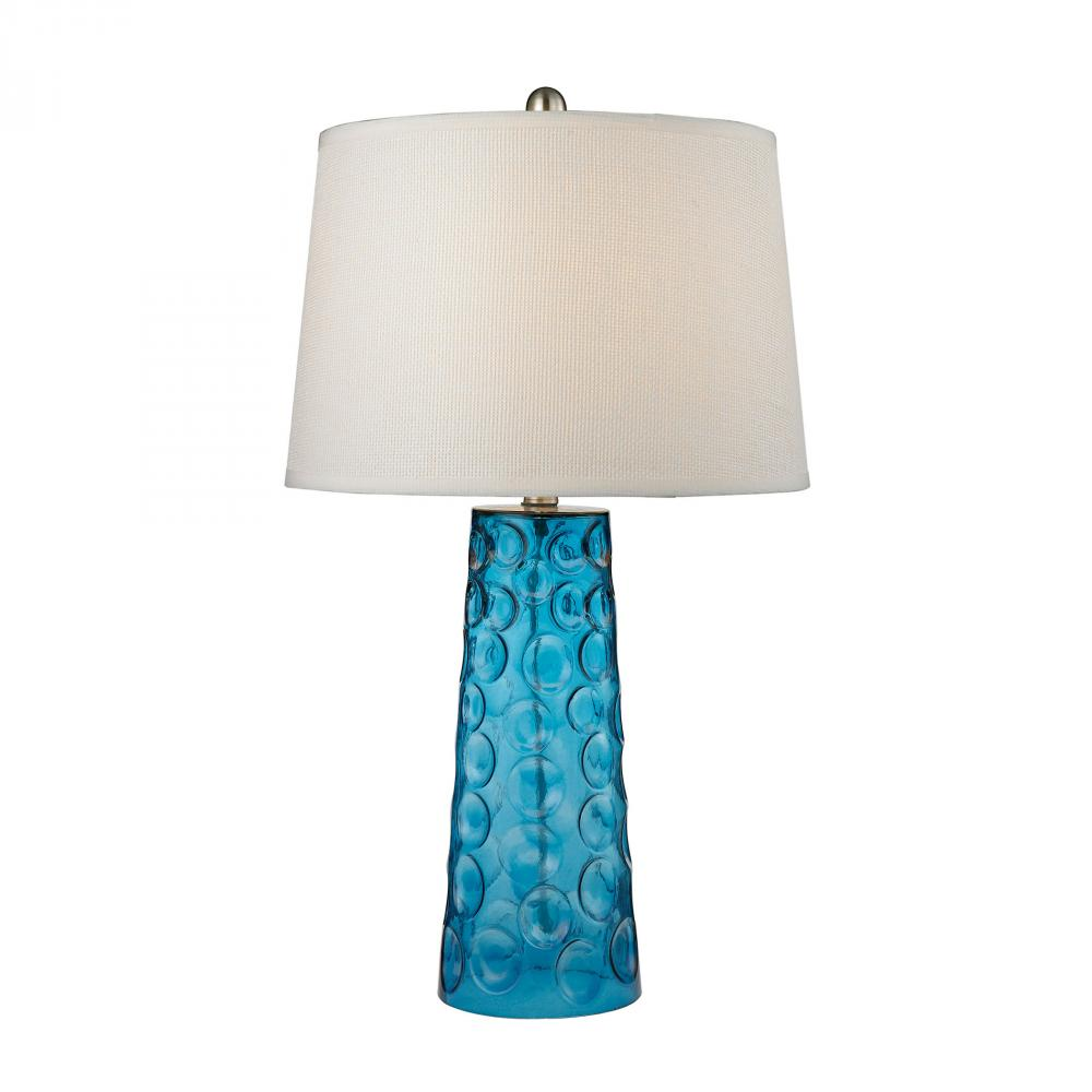 43rd Street Lighting, Inc. in Maple Grove, Minnesota, United States, Dimond D2619, Hammered Glass Table Lamp in Blue With Pure White Linen Shade, Hammered Glass
