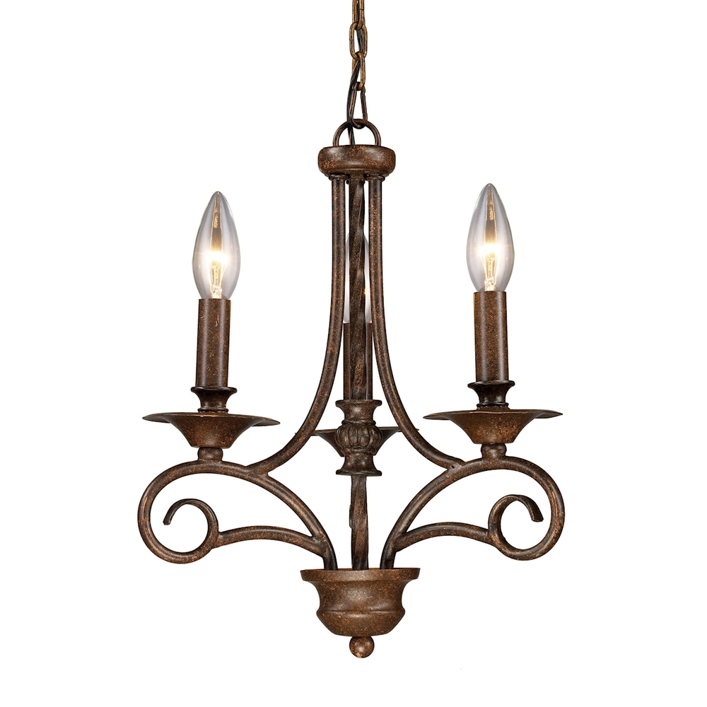 43rd Street Lighting, Inc. in Maple Grove, Minnesota, United States, ELK Lighting 15041/3, Gloucester 3 Light Chandelier In Weathered Bronz, Gloucester
