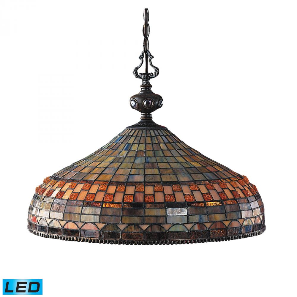 Jewelstone 3 light pendant in classic bronze led 800 lumens 2400 lumens