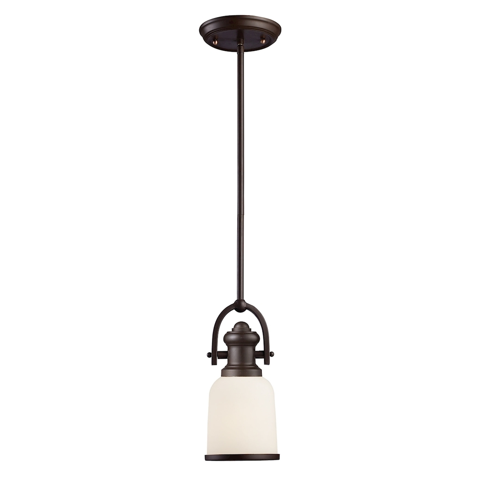 43rd Street Lighting, Inc. in Maple Grove, Minnesota, United States, ELK Lighting 66671-1, Brooksdale 1 Light Pendant In Oiled Bronze And W, Brooksdale