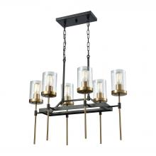 ELK Lighting 14551/6 - North Haven 6-Light Chandelier in Oil Rubbed Bronze and Satin Brass with Clear Glass