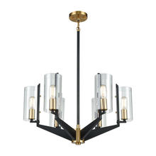 ELK Lighting 15315/6 - Blakeslee 6-Light Chandelier in Matte Black and Satin Brass with Clear Glass