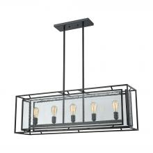 ELK Lighting 65262/5 - Eastgate 5-Light Chandelier in Textured Black with Seedy Glass Panels